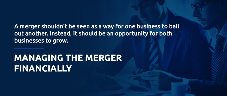 Financially managing a business merger pull out quote.